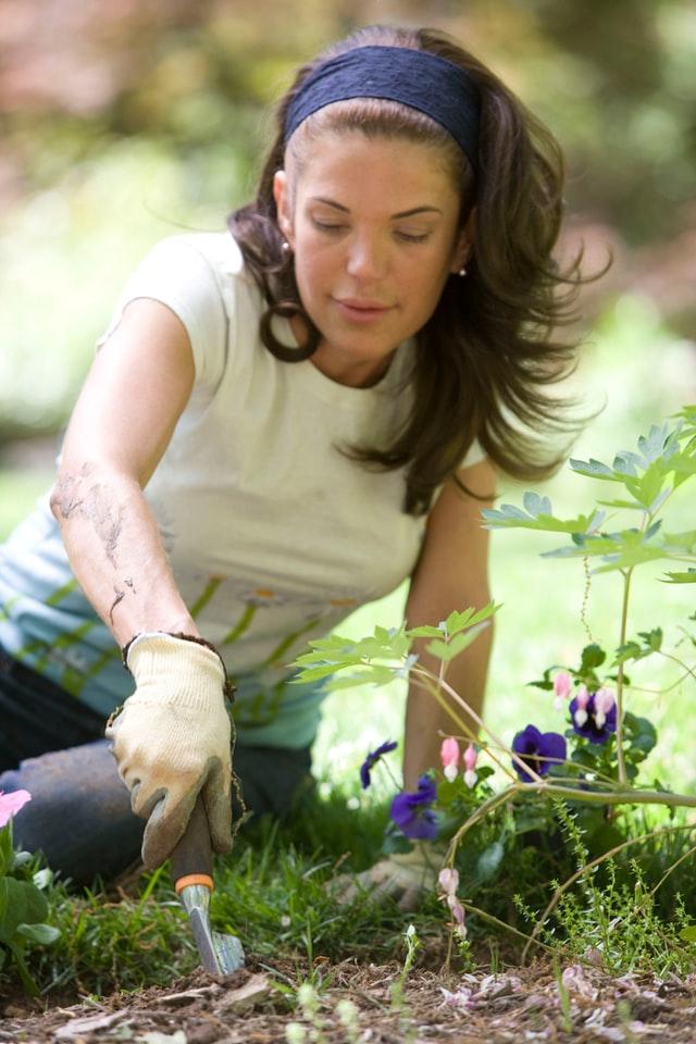 Kobieta pracująca w swoim ogrodzie